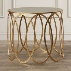 Willa Arlo Interiors Rex Glass Top Drum End Table Diy End Tables, Metal End Tables, End Tables With Storage, Side Tables, Mirrored Accent Table, How To Clean Mirrors, Mirror With Shelf, Gold Table, Interior Exterior