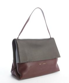CELINE Burgundy And Brown Leather Shoulder Bag With Pouchette