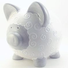 Gray and White Lamb Piggy Bank, Farm Theme Pottery Painting, Ceramic Painting, Pig Bank, Very Small Dogs, Personalized Piggy Bank, Cute Lamb, Color Me Mine, Arte Country, Paint Your Own Pottery