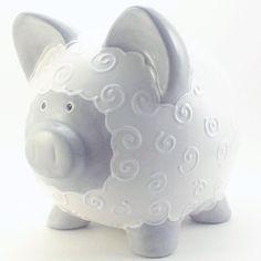Too cute! Personalized Piggy Bank (Lamb) - via Etsy.