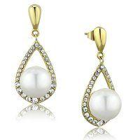 NA3660ZGPOC Oceľové náušnice s perlami a zirkónmi #supersperky #krasnesperky #perly #pearls #steelearrings #goldplated #swarovski
