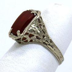 Vintage 14K Carnelian Filigree Ring