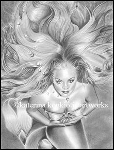 Under The Sea , Katerina Art ,Fantasy and Portraiture art by Katerina Art,The beautiful pencil art by Katerina Koukiotis