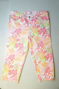 Women's CHRISTOPHER & BANKS flowered capri pants Size 4 Cotton Blend NWOT W172  #christopherbanks #CaprisCropped