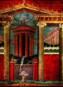 Fresco de la Villa de P. Fannio Sinistore en Boscoreale, datado entre el año 81 a.C hasta finales del S. I a.C. Pompeya. Actualmente se encuentra en el Museo Metropolitano de Arte de Nueva York. (Arte Romano).