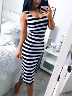 Material:Polyester Silhouette:Bodycon Dress Length:Mid-Calf Sleeve Length:Sleeveless Neckline:Scoop Combination Type:Single Waist Line:Mid Waist Closure:Pullover Elasticity:Moderate Detachable. Striped Maxi Dresses, Casual Dresses, Midi Dresses, Mini Robes, Calf Sleeve, Summer Dress Outfits, Summer Clothes, Sexy, Summer Maxi