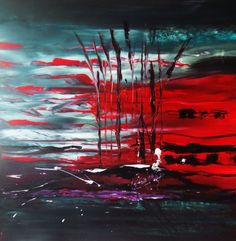 ARTFINDER: Power of Red ---- Abstract Art 28x28 ... by Mo Tuncay - Large Abstract Painting Colors 28x28 inches 70x70cm High quality gallery wrapped canvas ,