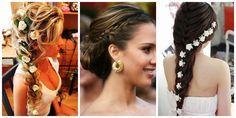 penteados de festa quinze anos de cabelo de lado com trança com flor - Pesquisa Google                                                                                                                                                      Mais