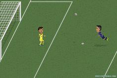 Robin van Persie header goal against Spain, in all its 8-bit glory.