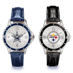 """Your team is always #1 with these stylish watches. Silvertone case with leatherlike strap, 9"""" L."""