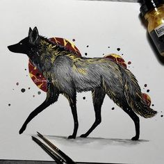 Inktober day 31 Mained wolf 🐺 Last one! 😭 Thank you everyone for the support during this month 🙏 ❤️ Didn't think I'd manage to do it all… Animal Drawings, Cool Drawings, Tier Wolf, Mononoke, Arte Horror, Ink Art, Art Inspo, Art Sketches, Art Reference