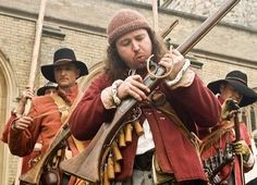 Musketeers are armed with either a matchlock or doglock musket. In a Civil War regiment of foot they tended to be 2/3rds of the total number of men. Muskets were muzzle loading weapons which fired a 3/4oz lead ball. The injuries inflicted by these projectiles were terrible; as one observer noted at the first battle of Newbury: 'It was somewhat dreadful ... to wipe the brains and bowels from our faces as we advanced...' The English Civil War (1642–1651) was between Roundheads & Cavaliers. Thirty Years' War, Civil Wars, Western World, Conquistador, Napoleonic Wars, Musketeers, Long Winter, American Civil War, British History