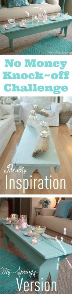 Great for small spaces where you don't have room for a larger coffee table/DIY Aqua Shabby Beachy Farmhouse Bench