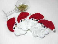 Santa Clause Crochet Coasters Beverage Drink Winter by MariMartin, Crochet Christmas Decorations, Crochet Decoration, Holiday Crochet, Christmas Knitting, Crochet Dishcloths, Knit Crochet, Yarn Crafts, Diy And Crafts, Crochet Kitchen
