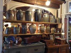 Antique Crocks and Stoneware at Harris Hall of Antiques 5016 Roanoke Rd Troutville Va 24175 harrishallofantiques.com