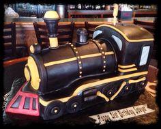 train cake, steam train, birthday
