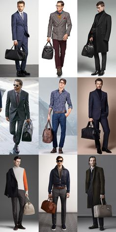 Men's Leather Holdall Bags Outfit Inspiration Lookbook