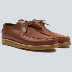 Yogi Lawson crepe tan mocassin shoe - negative heel