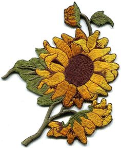 New sunflower design embroidered iron-on patc h. Ideal for adorning your jeans, hats, bags, jackets and shirts. Our appliques can also be sewn on. Spray water on back of patch. Cover patch with a piece of damp cloth.   eBay!