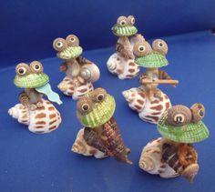 Vintage Seashell Sea Shell Art 6 Piece Frog Musical Group Band Cool Man | eBay