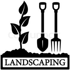 Stock vector of 'black landscaping icon with sprout and gardening tools silhouette'