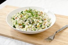Creamy Herb & Cucumber Rice Salad #vegan