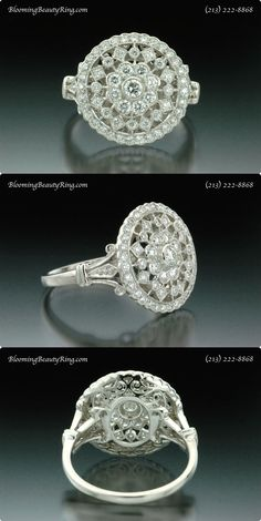 Antique Filigree Diamond Ring by BloomingBeautyRing.com  (213) 222-8868