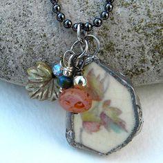 Necklace - Tale of A Spring Awakening - Vintage Broken Plate Soldered Leaf NEcklace