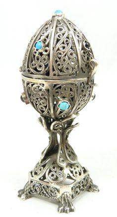 Russian Judaic Silver Hinged Filigree Egg Box.