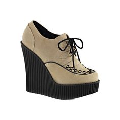 Women's Demonia Creeper 302 Wedge Oxford - Cream Vegan Suede Casual (€57) ❤ liked on Polyvore featuring shoes, oxfords, casual, casual shoes, demonia shoes, cream wedge shoes, oxford shoes, suede wedge shoes and creeper shoes