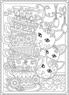 Stack Of Teacups Creative Kittens Coloring Book By Marjorie Sarnat
