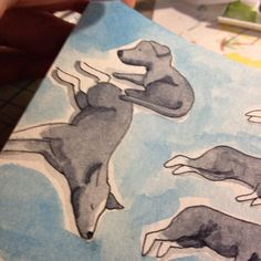 Lots of Baleias dwgdaily dog watercolor