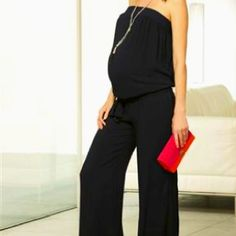 You could easily get the look of this Maternity romper by wearing flowing pants paired with a roomy tube top. (That way it's easier to get in and out of the bathroom when it's not all sewed together.)