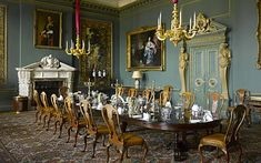 The dining room at Wilton HOuse, a neo-Caroline room created inteh early twentieth century but long used for other purposes, was restored and refurnished in 2010 by the present Earl and Countess of Pembroke, with advice from David Mlinaric.