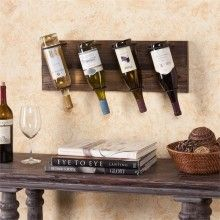 This wall mount wine storage offers convenience and style! Decoratively display your wine collection while making use of unused wall space. This wine storage rack has a lovely, weathered oak finish with metal bottle holders. The unit holds up to four bot Oak Wine Rack, Wine Glass Rack, Wood Wine Holder, Wine Bottle Holders, Wine Bottles, Traditional Housewarming Gifts, Wine Rack Storage, Bottle Wall, Glass Bottle