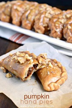 Pumpkin Hand Pies - Shugary Sweets-These Pumpkin Hand Pies are the perfect fall treat! The flaky crust and nutty pumpkin pie filling are the perfect combo in a hand pie, plus they've got a wonderful maple walnut glaze! Pumpkin Dessert, Pie Dessert, Dessert Recipes, Pumpkin Pies, Apple Pies, Candy Recipes, Dessert Table, Fall Recipes, Canned Pumpkin Recipes