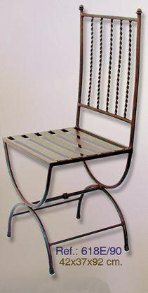 Silla de forja silla forja muebles hierro forjado for Modelos de sillas de hierro