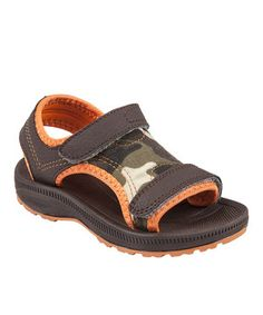 This Lil Fellas Brown & Orange Camo Open-Toe Sandal by Lil Fellas is perfect! #zulilyfinds