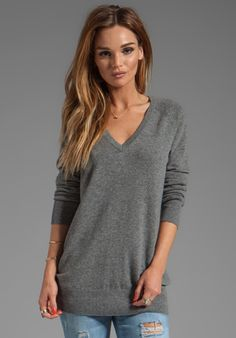 Equipment Ashver V Neck Sweater in Heather Grey
