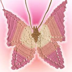 Cute Crochet, Crochet Crafts, Crochet Yarn, Crochet Projects, Knit Crochet, Crochet Butterfly, Pink Butterfly, Knitting Patterns, Sewing Patterns