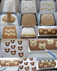 Food and Drink on Share Sunday Teddy Bear Cake Roll / Banana Cake Roll / Recipe in Japanese Food Cakes, Cupcake Cakes, Japanese Roll Cake, Japanese Sweets, Swiss Roll Cakes, Cake Roll Recipes, Decoration Patisserie, Patterned Cake, Striped Cake