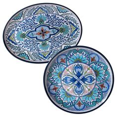 Certified International Talavera by Nancy Green Melamine Set of 2 Serving Platters Blue