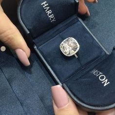 Harry Winston micropave cushion cut engagement ring (video)