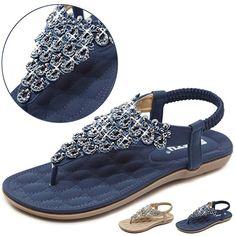 Yozai Womens Rhinestones Flip Flops Navy (many other colors) Rhinestone Sandals Flats, Flat Sandals, Comfortable Dress Shoes, Flip Flops, Jewels, Navy, Rhinestones, Summer, Amazon