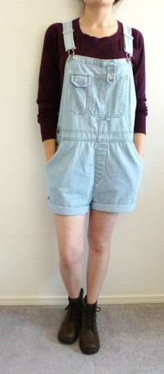 VTG 90s Grunge Light Wash Denim Jean SHORTALLS Short Overalls Romper Size L / XL #Xhilaration #Overalls  You can't go wrong with a good pair of slouchy shortalls -  layer on a flannel and pair with tights for a fall ready look.