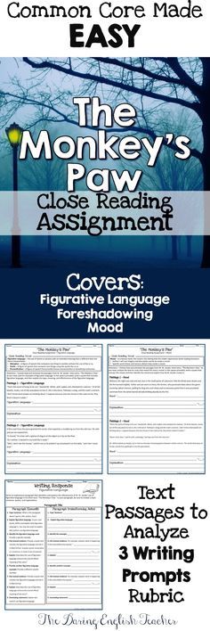 Help your students understand W. W. Jacobs' story more in-depth with this CCSS aligned close reading assignment!