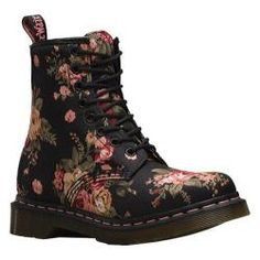 Women's Dr. Martens 1460 8-Eye Boot Black Victorian Flowers