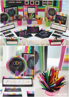 Rainbow chalkboard stripes classroom decor theme decorations school Created by Schoolgirl Style www. 3rd Grade Classroom, Classroom Setup, Classroom Design, Kindergarten Classroom, Future Classroom, Classroom Decor Themes, Classroom Organisation, Classroom Setting, Organization