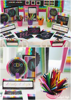 Rainbow chalkboard stripes classroom decor theme decorations school Created by Schoolgirl Style www.schoolgirlstyle.com