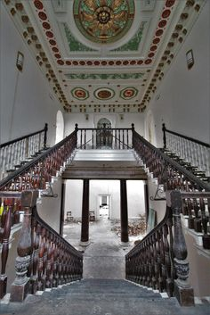 This grade 2 listed country house and was full of features, with a lovely entrance hall that had nice big columns, a grand staircase, lib Grand Staircase, Staircase Design, Derelict Places, Stone Stairs, Entrance Hall, More Photos, Abandoned, Scary, 19th Century